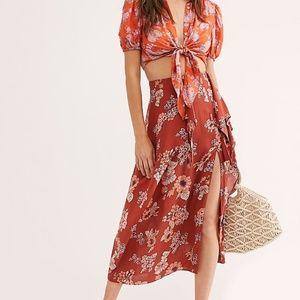 NWT! Free People Sunray Sarong Flower Midi Skirt